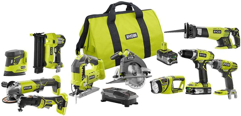 Ryobi 18-Volt ONE+ Lithium-Ion Cordless (10-Tool) Combo Kit with (1) 4.0 Ah Battery and (1) 1.5 Ah Battery, Charger and Bag