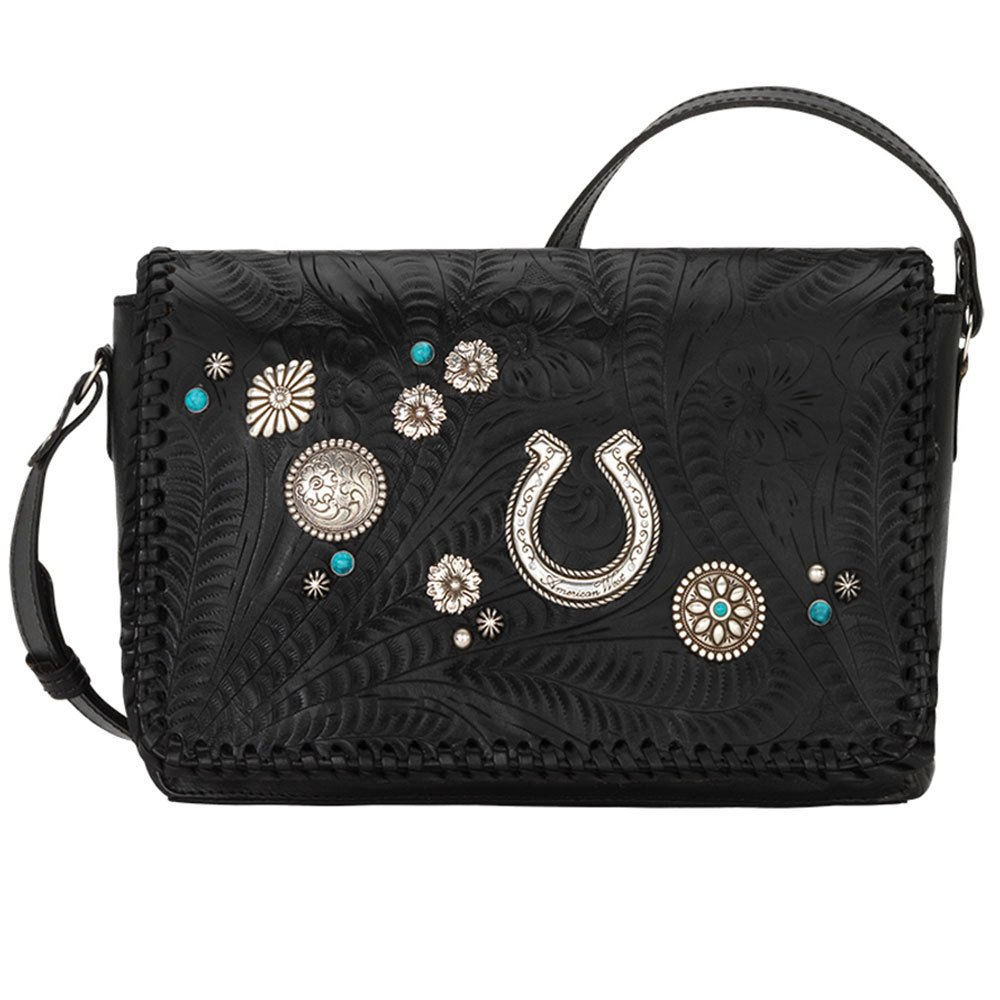 American West Women's Lariat Love Crossbody Bag/Wallet Black One Size by American West (Image #1)