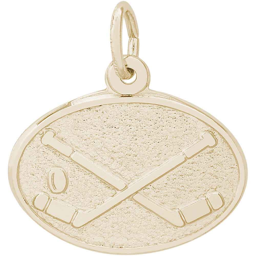 Rembrandt Charms Hockey Charm, Gold Plated Silver