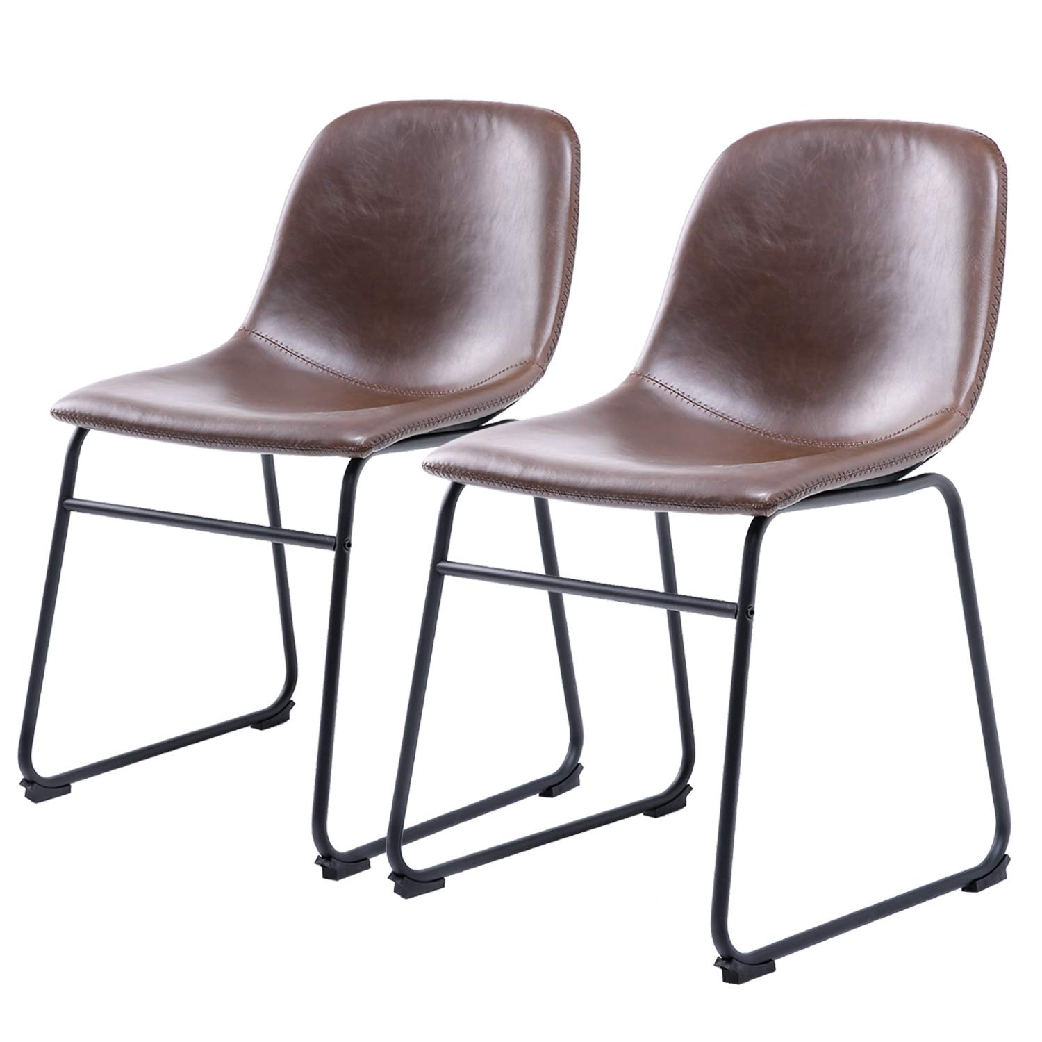 Rfiver Centiar Pu Leather Dining Room Chairs Set of 2, Vintage Kitchen Side Chairs Mid Century Modern Style with Upholstered Seat and Metal Legs, Brown BS1001