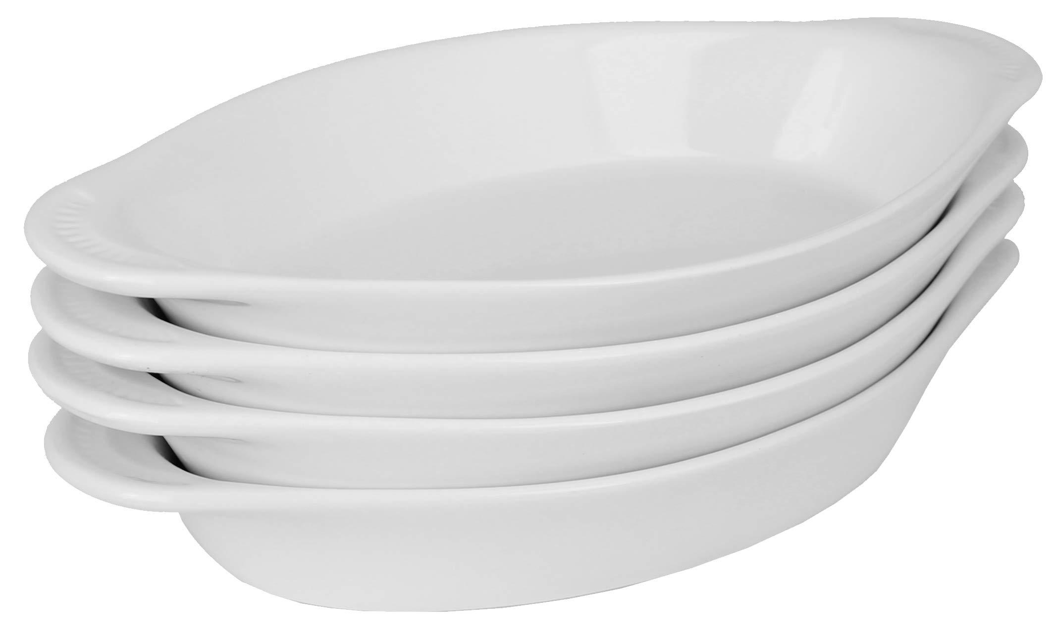 MinWill Brands Ceramic Oval Rarebit/Au Gratin Baking Dish with Pan Scraper (4-Pack, 12 Ounce, Pure White)