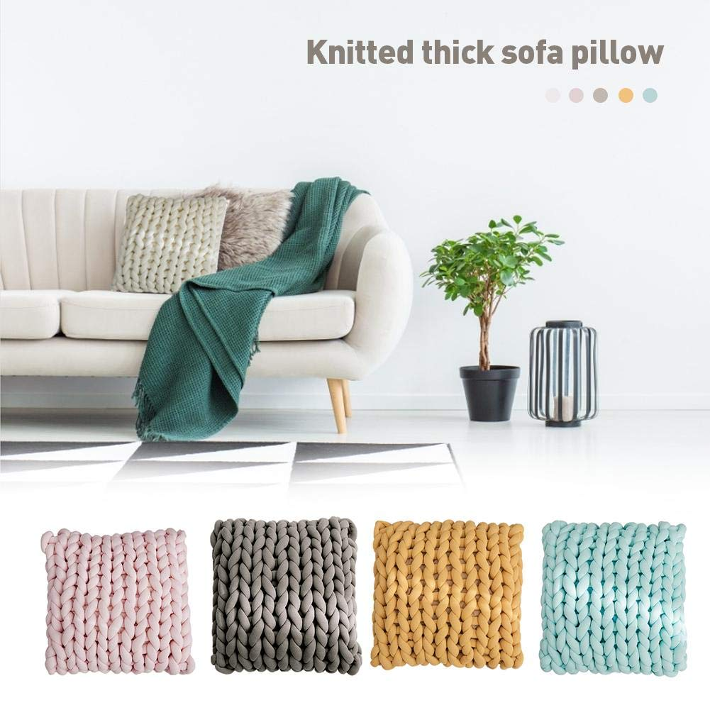 Wendysy Ultra Thick Cushion Pad Sofa Pillow Knitted Thick Sofa Pillow Hand-Woven Decorative Throw Pillow Chunky Wool DIY Super Bulky Arm Knitted Throw Pillow for Living Room by Wendysy