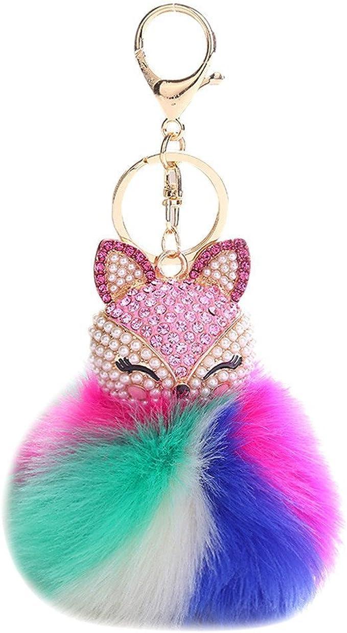 Keyring with Eyes Bag Charm Pom Pom Kitty Eyes Fur Pom Pom Ready to ship Cat Fur Bag Pom Pom White Fox Fur Keychain for Handbags