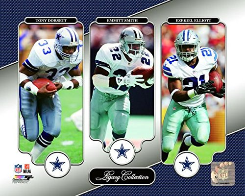Tony Dorsett, Emmitt Smith, Ezekiel Elliott Dallas Cowboys Legacy Collection Photo (Size: 8