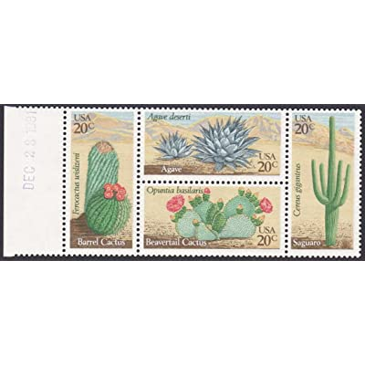 1981 Desert Cactus Plants Mint Block of Four 20 Cent Postage Stamps Scott 1945a By USPS: Toys & Games