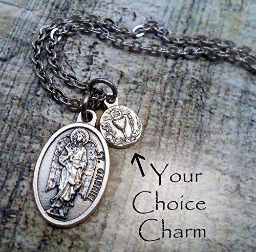 St. Gabriel Archangel Charm Necklace, Patron Saint, Keychain or Backpack Clip ()