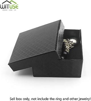 Caja de regalo cuadrada negra para anillo, collar, joyería, caja de regalo: Amazon.es: Bricolaje y herramientas