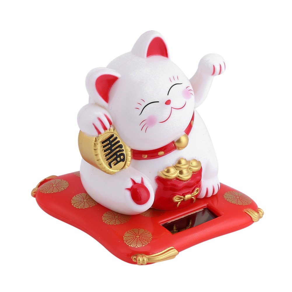 White Fortune Cat CM-0427-02 Delaman Maneki Neko Solar Powered Lucky Cat Waving Arm