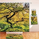 LiczHome Bath Suit: Showercurtain Bathrug Bathtowel Handtowel Japanese Decor Tapestry Shadows of a Large Maple Tree along with River with Sunlight Fall Season Nature Theme Green and Yellow