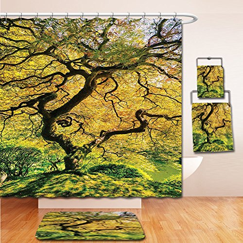 7 Kelston Toilet (LiczHome Bath Suit: Showercurtain Bathrug Bathtowel Handtowel Japanese Decor Tapestry Shadows of a Large Maple Tree along with River with Sunlight Fall Season Nature Theme Green and Yellow)