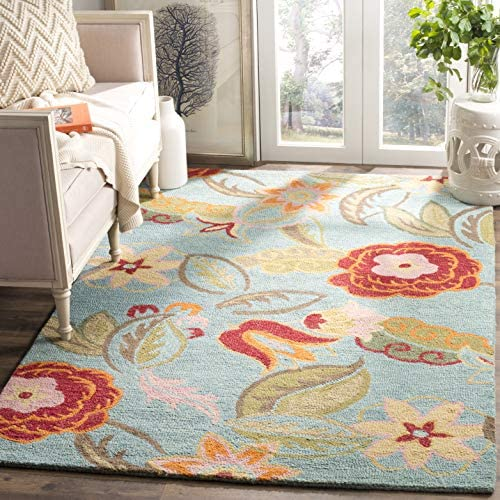 Safavieh Blossom Collection BLM675A Handmade Blue and Multi Premium Wool Area Rug 8 x 10