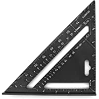 Mila-Amaz Aluminiumlegering driehoek liniaal 7 inch gradenboog dak driehoek hoek hoek voor ingenieurs timmerman, zwart