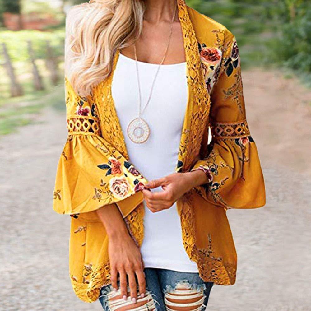 FNKDOR Women Fashion Autumn Long Sleeve Open Cape Casual Coat Blouse Kimono Jacket Cardigan Coat