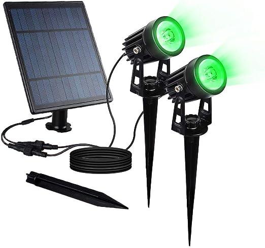 Foco LED solar para exteriores, resistente al agua, 2 W, luz de pared con sensor de oscurecimiento automático, encendido/apagado para jardín, patio, árbol (verde): Amazon.es: Iluminación