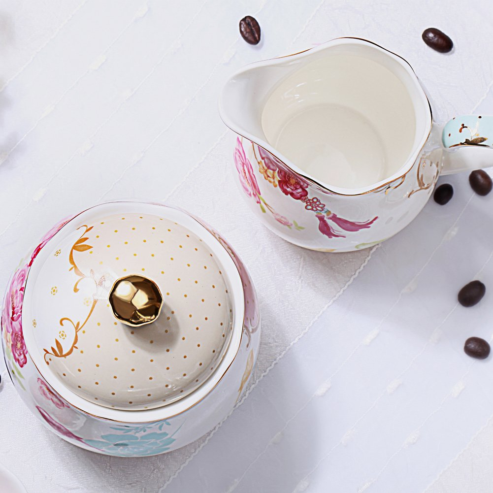 AWHOME Sugar and Creamer Set for Coffee and Tea Red Floral Painted Classic Porcelain by AWHOME (Image #5)