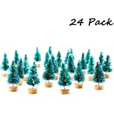 Etmact 24pcs Mini Pine Trees Sisal Trees with Wood Base Christmas Tree Set for Crafting, Displaying and Decoration