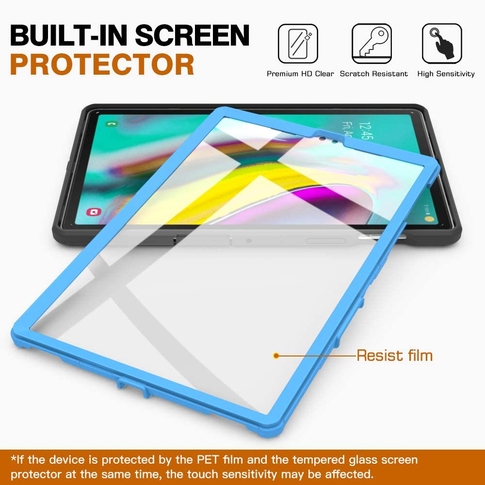 Shockproof Full Body Rugged Stand Back Cover Built-in Screen Protector for Galaxy Tab S5e SM-T720//SM-T725 2019 Release Tablet Heavy Duty MoKo Case Fit Samsung Galaxy Tab S5e 2019, Black