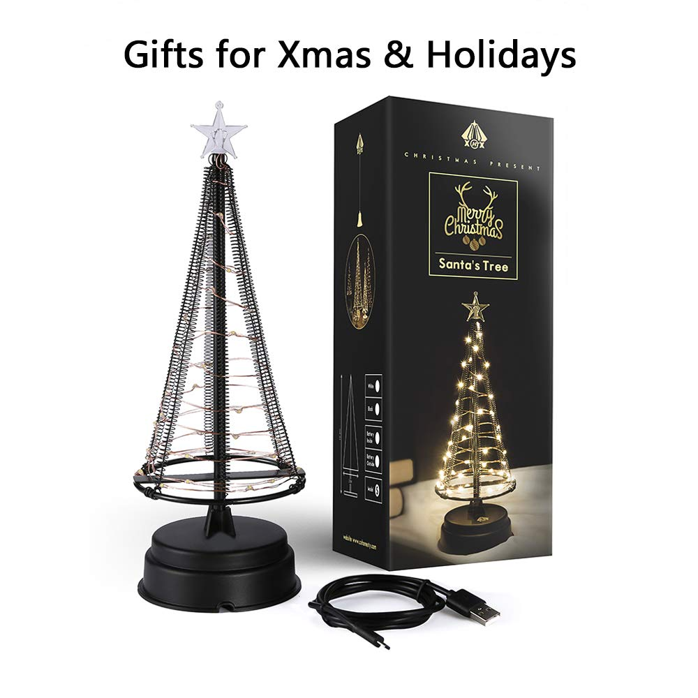 HONESTY Christmas Tree ,Mini Christmas Tree, Night Light,40 Warm White LEDs on Copper Wire Charging Data Line,Table Lamp & Nice Decorations Your Rooms, 10.2 inch Tall, Inside Black