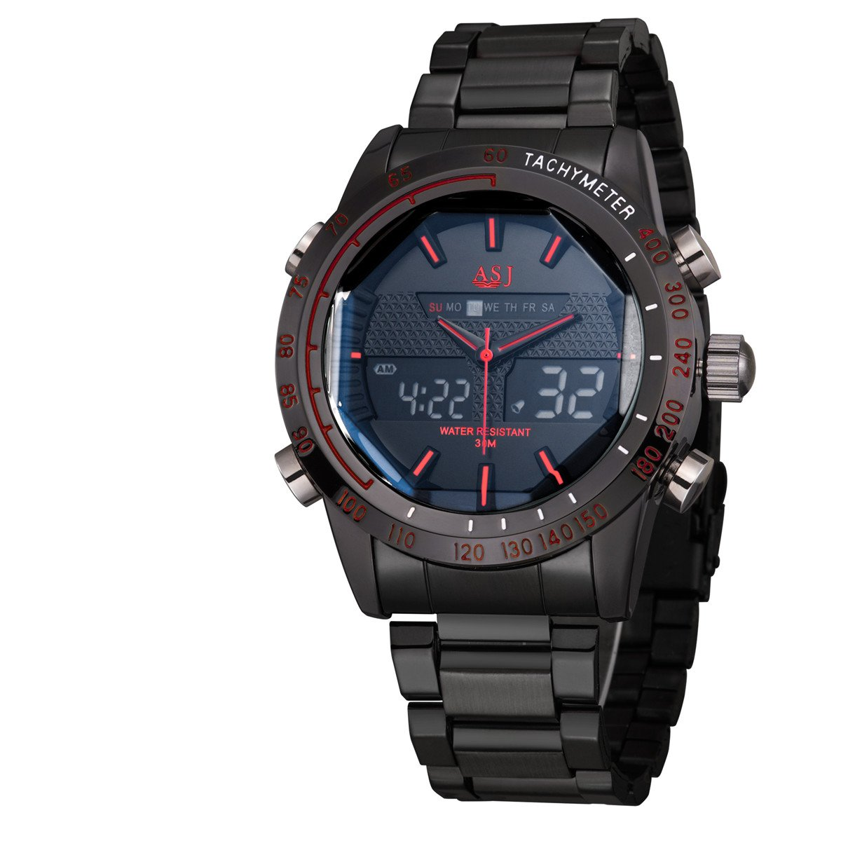ASJメンズファッションミリタリースポーツ、デュアルディスプレイ機能クォーツ手首腕時計、防水100 ft 3# B071YLGCG2 3# 3#