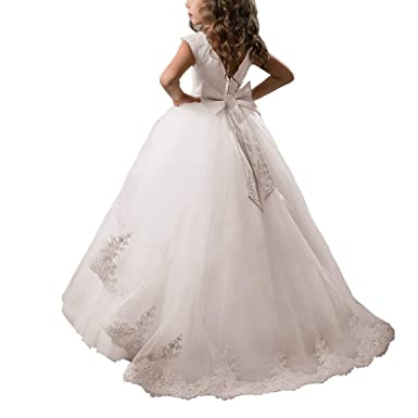 65ebeeb92c9c6 Gdoker Flower Girl Dress Fancy Tulle Satin Lace Cap Sleeves Pageant Girls  Ball Gown (2