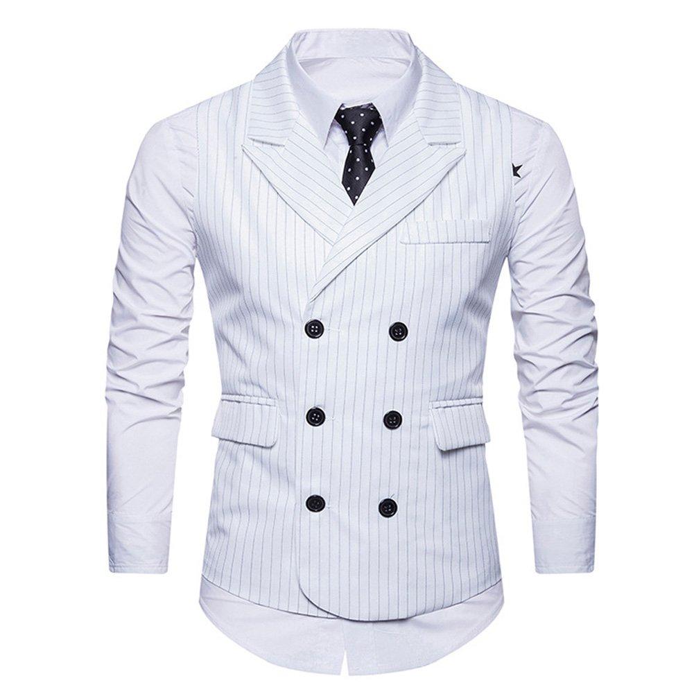 Cloudstyle Mens Pinstripe Vest Slim Fit Formal Dress Vest Double-Breasted Business Vest
