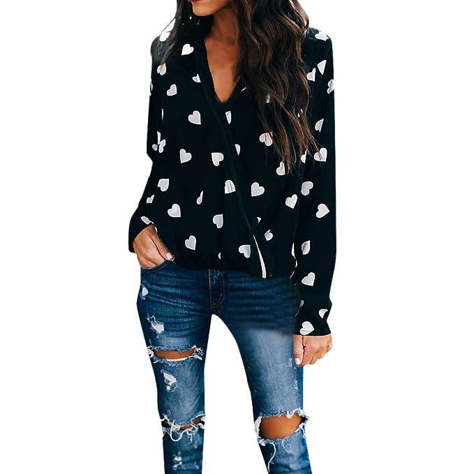Blusas Mujer Tallas Grandes Elegantes BBsmile Camisa Mujer Negra con Lunares Amor Casual Top con Cuello en v Manga Larga Blusa de la Camiseta: Amazon.es: ...