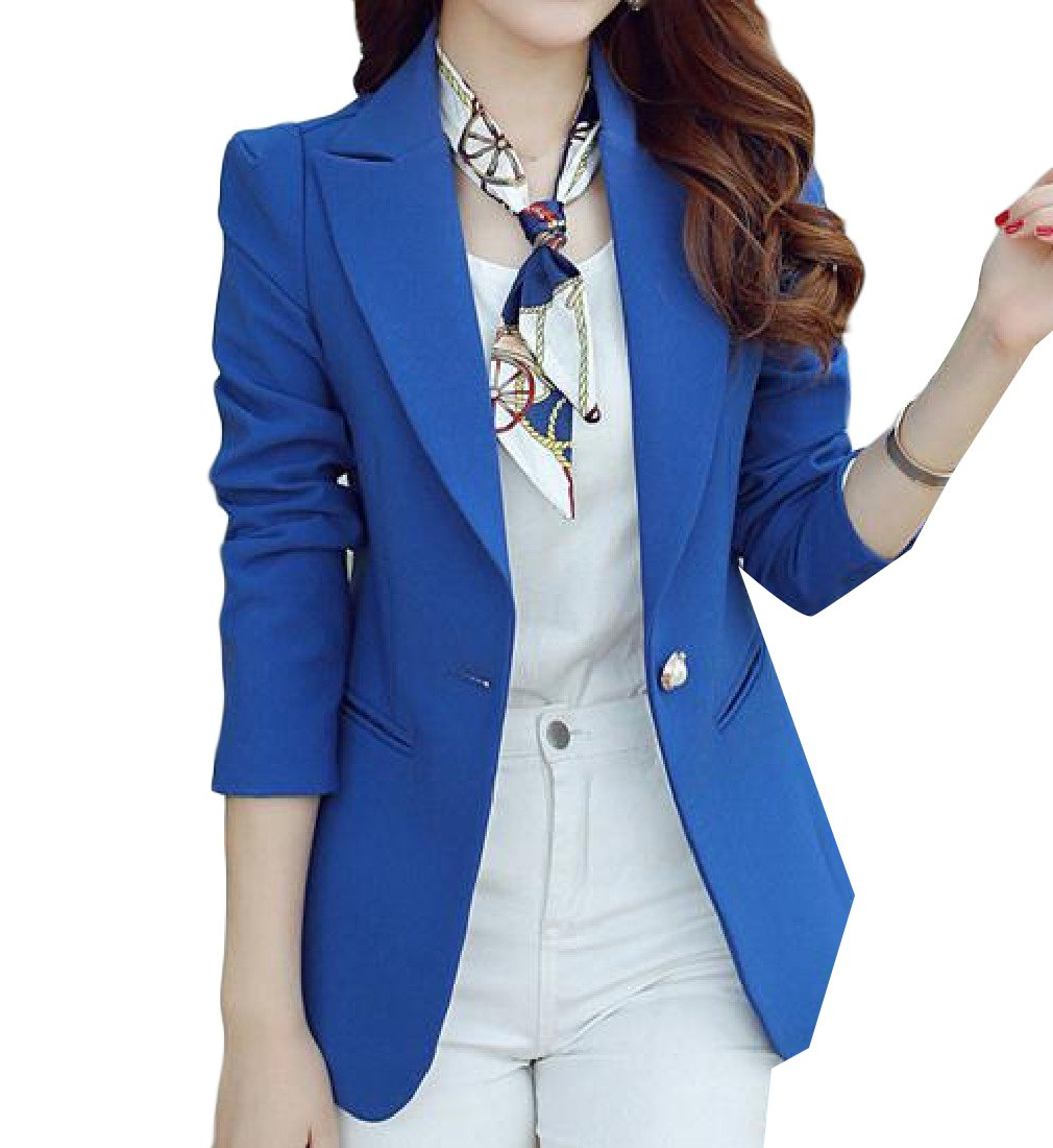 Zimaes Women Long Sleeve With Pockets Casual Small Blazer Coat Tops Royal Blue XL