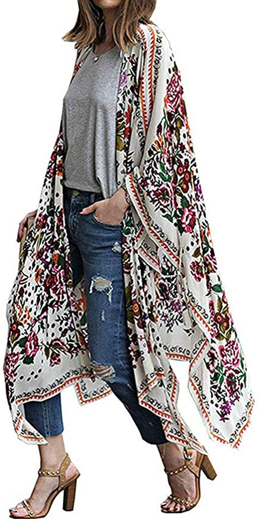 Women Beachwear Cover Up Chiffon Kimono Cardigan Sun Moon Print Bikini Swimsuit Blouse Tops