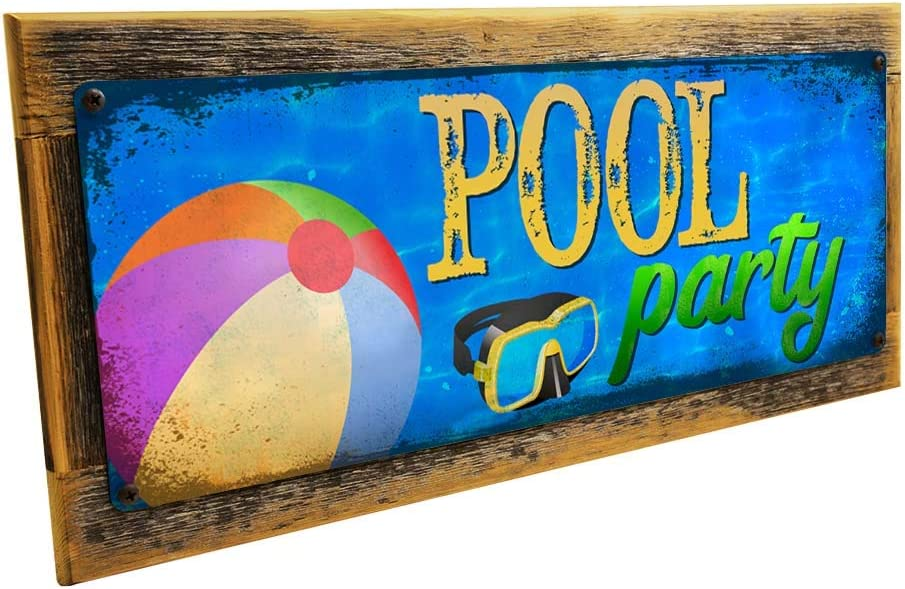 Patio Pool Metal Sign; Wall Decor for Porch or Deck
