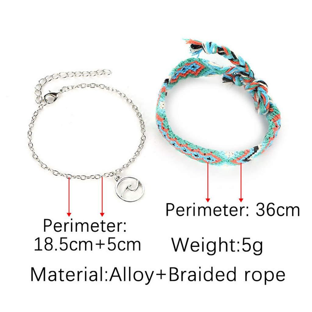 Carise 2Pcs Bohemian Wave Anklet Cotton Woven Ethnic Bracelet Anklet Beach Foot Jewelry