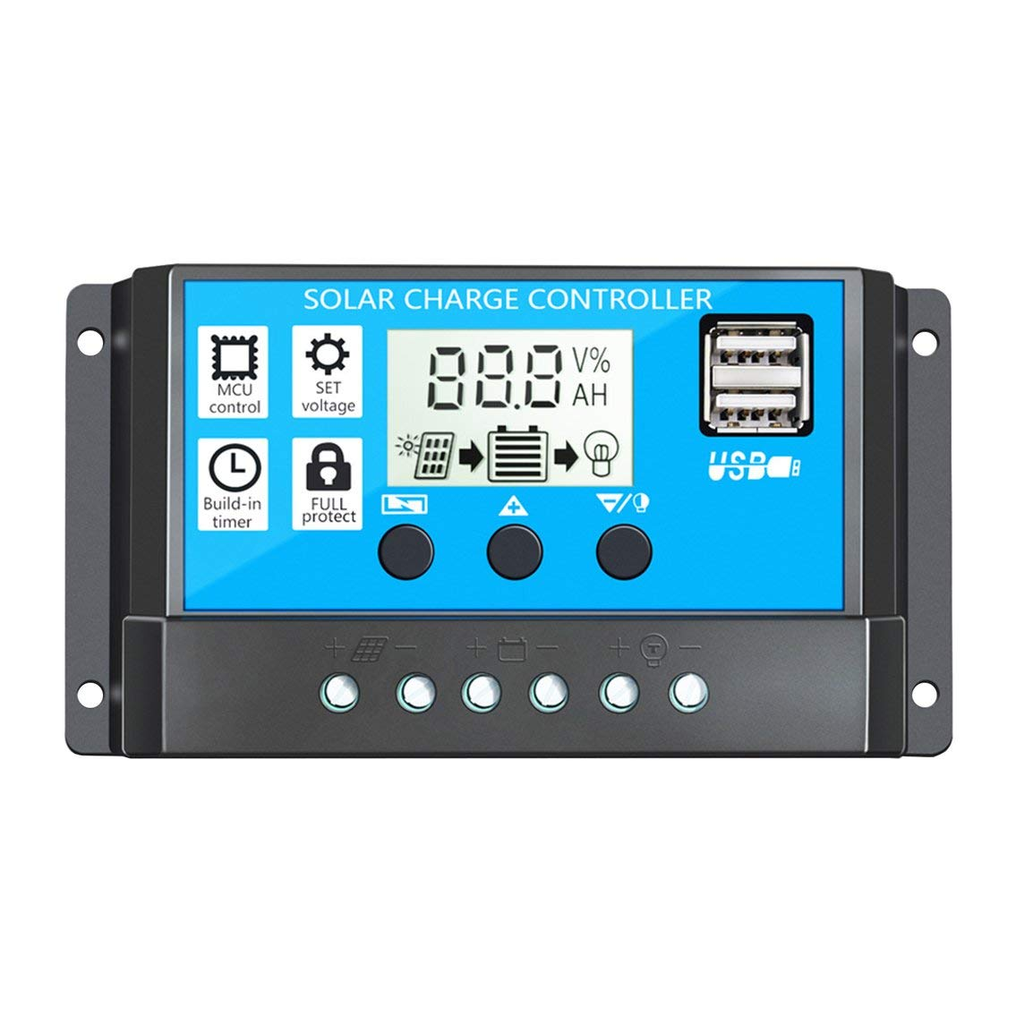 Intelligent Solar Charge Controller PWM Controller Regulator With Dual USB LCD Display Solar Panel Battery Controller-Black/&Blue Rbl-10
