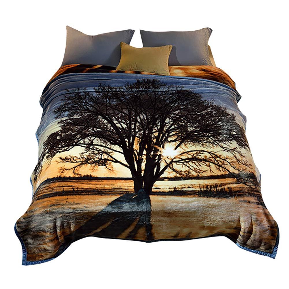HSBAIS 大人のためのキングサイズ毛布 小さい毛布柔らかい冬毛布ラッシェル厚め洗える暖かいシート結婚式ギフトキルト,tree_200*230cm B07K76BR4M Tree 200*230cm