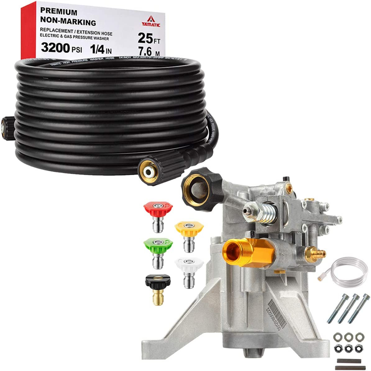 """YAMATIC 3200 PSI Pressure Washer Hose Pump Set, Vertical 7/8"""" Pump with Spray Nozzle Tips, 25 FT X 1/4 Inch Power Washer Hose"""