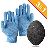 JPKK Pumice Stone Foot Scrubber and Exfoliating Gloves Combo Pack - 3 PC Set Removes Dead Skin - Foot Exfoliator - Foot Callus Remover Kit Makes Feet Smooth and Attractive