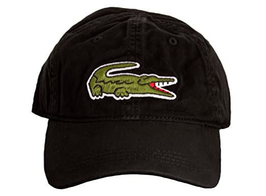 8117bf7fc12 Lacoste Men s Large Green Croc Gabardine Cotton Cap -Black (O S) at ...
