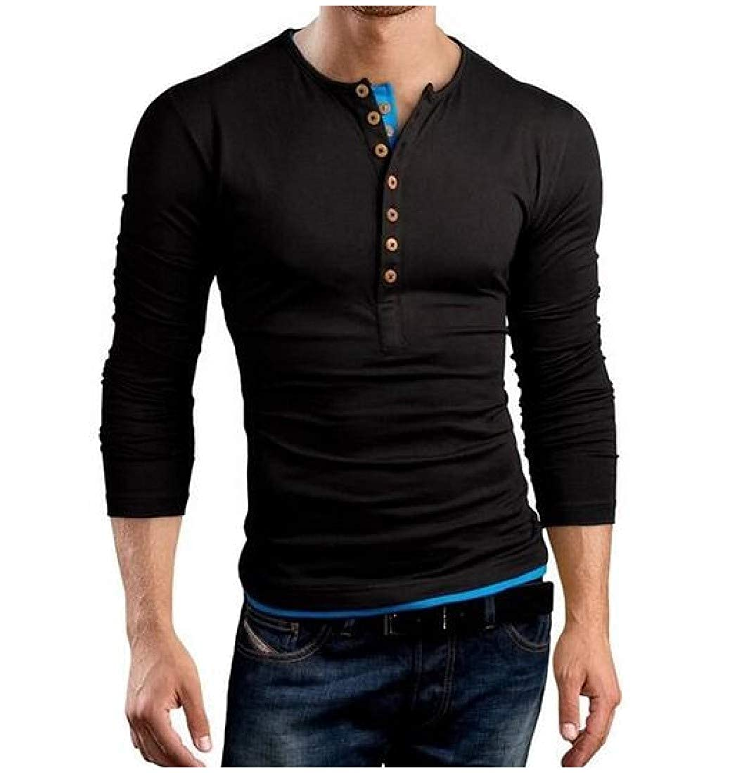 Winwinus Mens O-Neck Double-Breasted Long Sleeve Causal Top Shirt T-Shirt