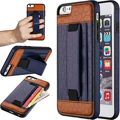 "iPhone 6S Plus Case, Moona Wallet Case for iPhone 6S Plus with KickStand ""1 Year Warranty"" Apple iPhone 6 Plus Wallet Case, PU Leather Case, iPhone 6 Plus Thin Case, iPhone6 Plus Case (Blue/Brown)"