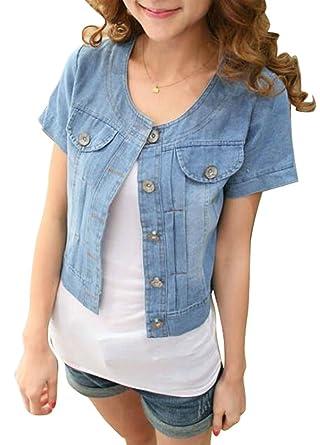 772036db8d0 ARTFFEL-Women Sweet Lightweight Short Sleeve Washed Denim Jacket Coat Dark  Blue XXS