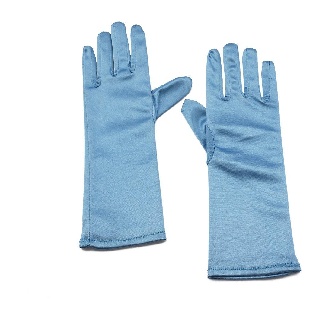 Greenmoe Girls Short Length Satin Gloves For Kids Dance Party White