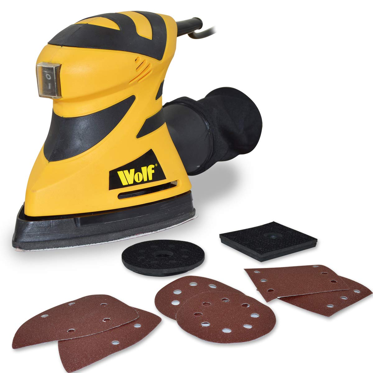 Wolf 180 Watt 240v 3 in 1 Multi Function Sander - Simple Pad Change For Detail Sander or Dual Action Rotary Sander or 1/4 Sheet Sander - Includes 6 Sanding Sheets, 3 Base Plates and Dust Bag