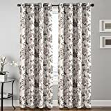 Blackout Window Room Grommet Curtain Thermal Insulated Drapes-52 inch Width by 84 inch Length-Set of 2 Panels-Vintage Floral Pattern in Sage and Brown For Sale