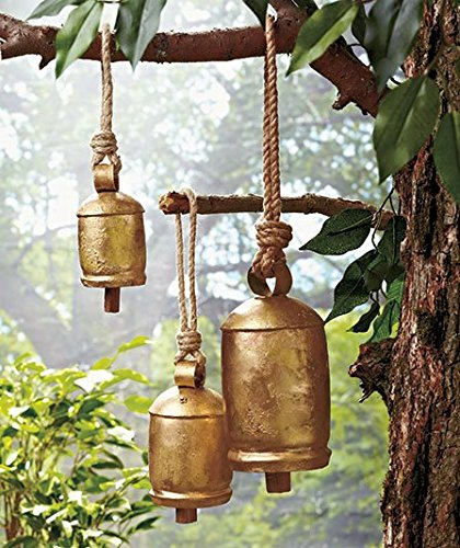 Cast Bronze Bell (Set of 3 Hanging Harmony Bells Garden Rustic Relaxing Tranquil Wind Chimes)