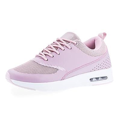 Trendige Damen Laufschuhe Schnür Sneaker Sport Fitness Turnschuhe Weiß/Lila 36 Marimo Xqe5c