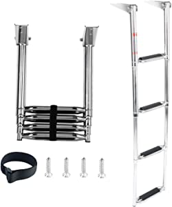 DasMarine 4 Step Ladder 316 Stainless Steel Telescoping Ladder, Drop Down Boarding Ladder with Extra Wide Curve up Steps 900 lbs. Capacity, Round Tubing Over Mount