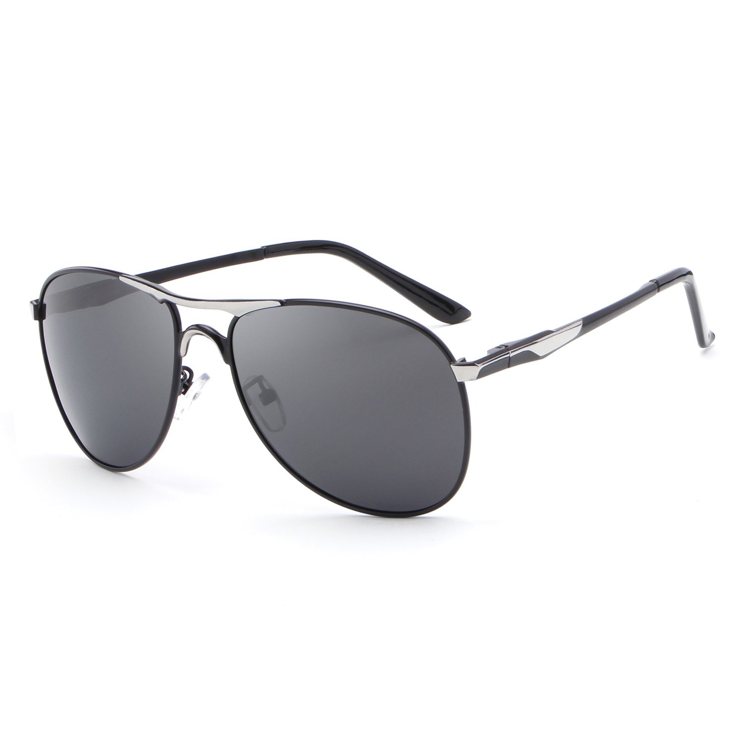 0d34d983278 Amazon.com  HDCRAFTER Polarized Aviators Metal Frame Sunglasses Black for  Men  Clothing