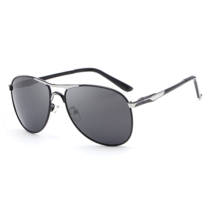 4979ba989984 Amazon.com  HDCRAFTER Polarized Aviators Metal Frame Sunglasses ...
