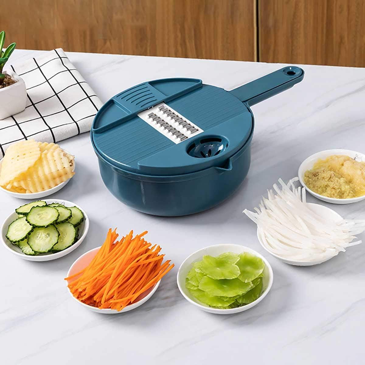 OPYWQS 10 in 1 Vegetable Mandoline Julienne Grater Slicer Food Chopper Cutter Dicer,Egg Yolk Separator & Drain Basket,Adjustable,for Kitchen,Blue