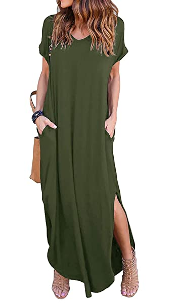 Image Unavailable. Image not available for. Color  Singular Grace Women s  Casual V Neck Sexy Side Split Loose Pocket Short Sleeve Long Maxi Dress 1f6bb1c19