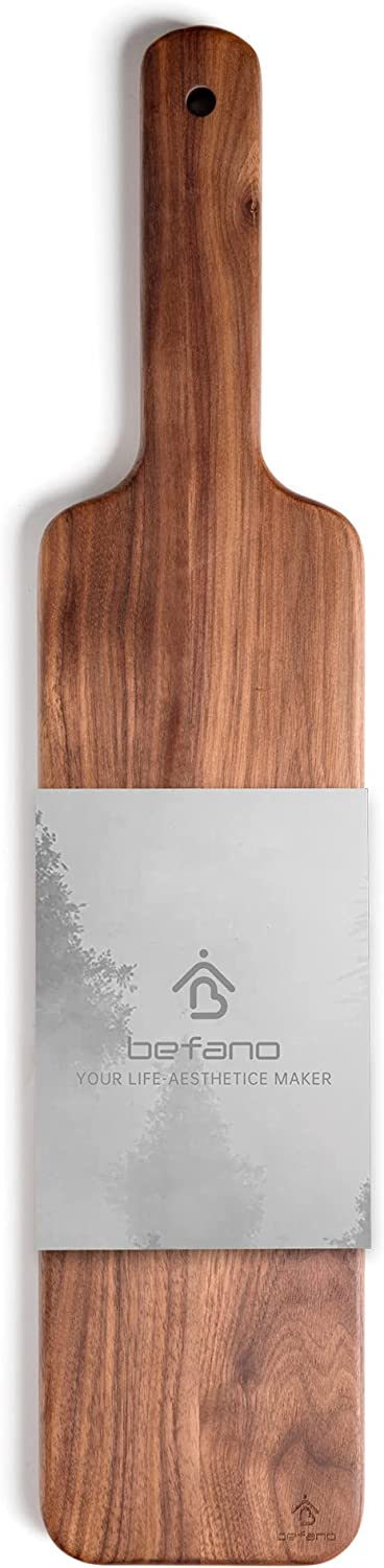 BEFANO Walnut Wood Cheese Serving Board Cutting Board for Kitchen, Wooden Serving tray with Handles, Charcuterie Boards, Bread Meat Fruit Display, Personalized Serving Platters for gift 20X4.3X0.8Inch