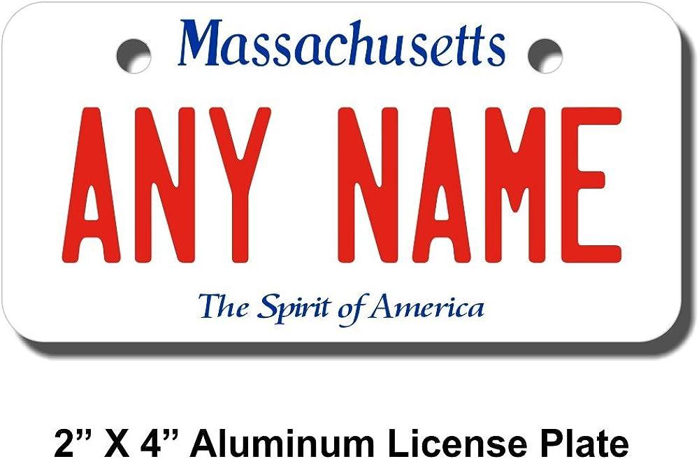Cars Cart Sizes for Kids Bikes Trucks TEAMLOGO Personalized Massachusetts License Plate Key Rings Version 1